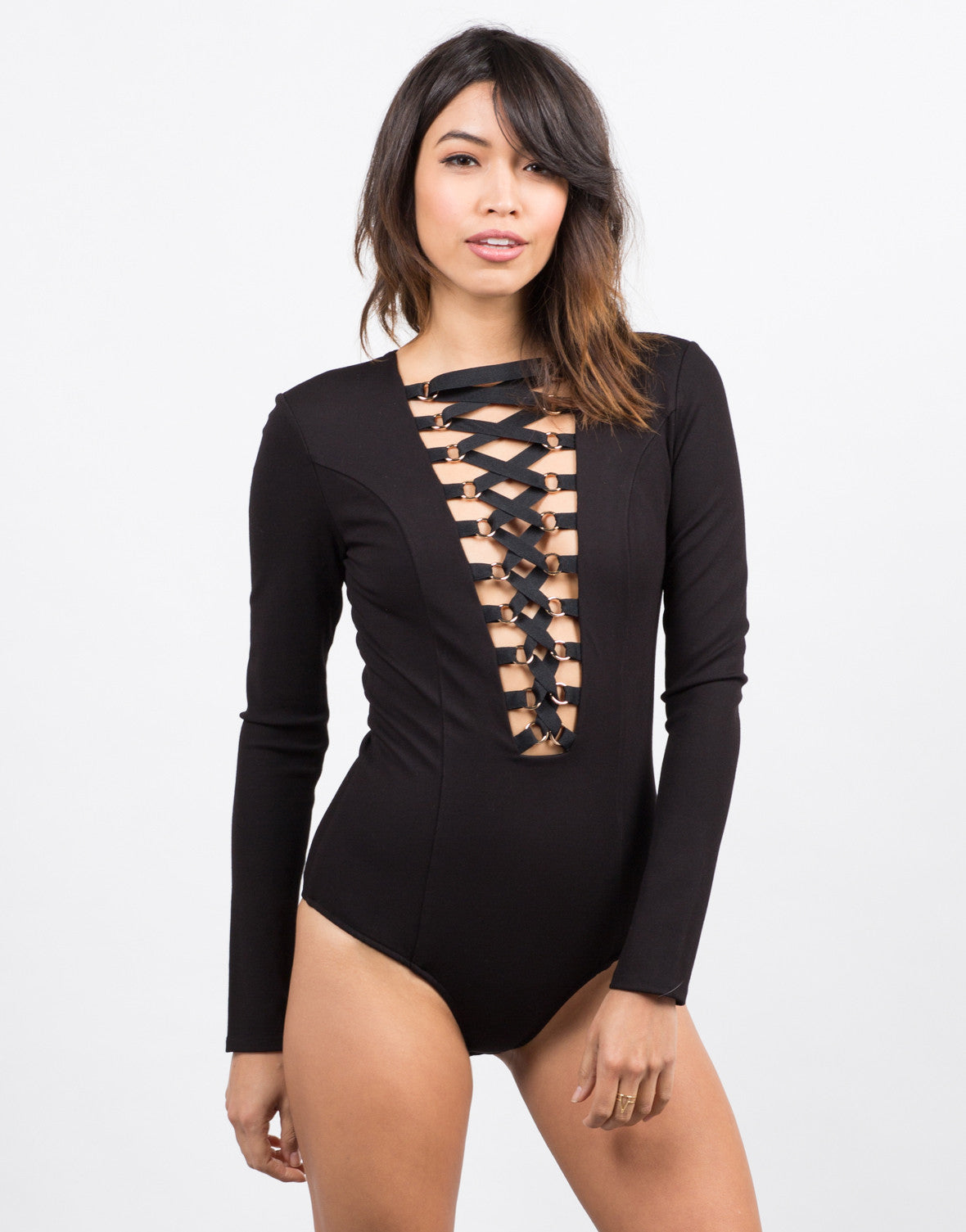 Front View of L/S Tied Up Bodysuit