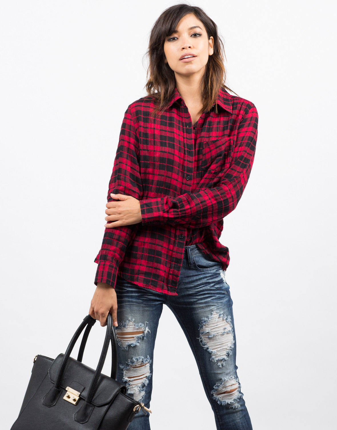 Front View of Lumberjack Plaid Shirt
