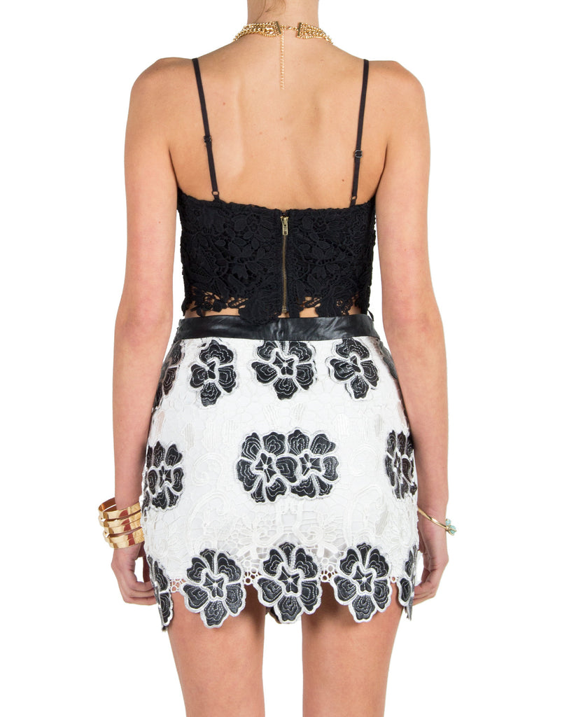 Lush Clothing - Floral Crochet Lace Cropped Top - Black - Large - 2020AVE