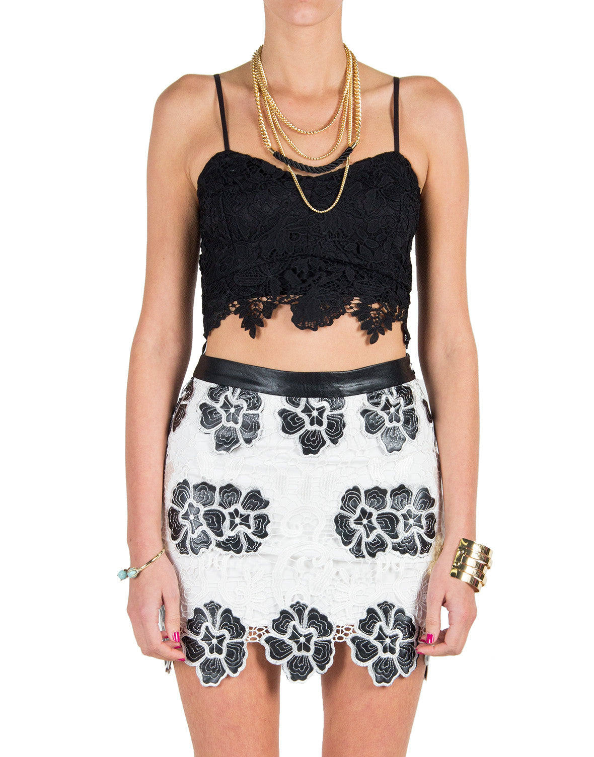 Lush Clothing - Floral Crochet Lace Cropped Top - Black - Large