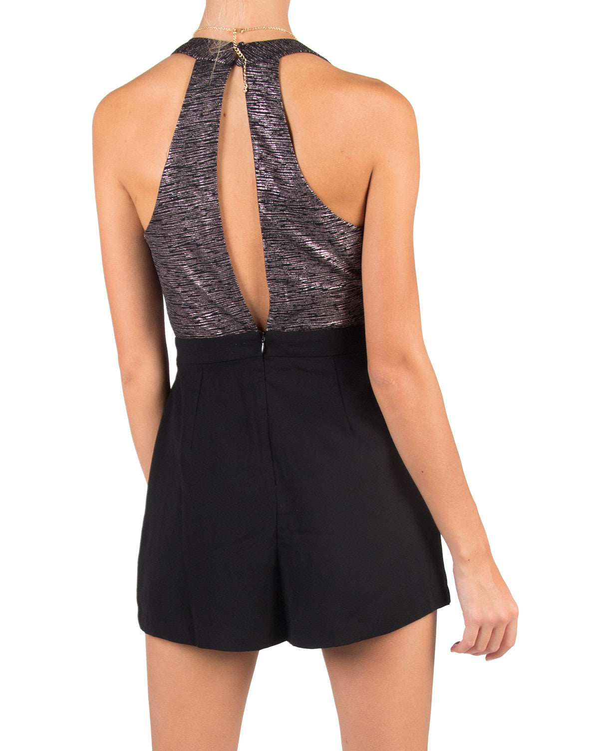 Lush Clothing - Metallic Cross Front Romper - Lush LP20332-S01-Black