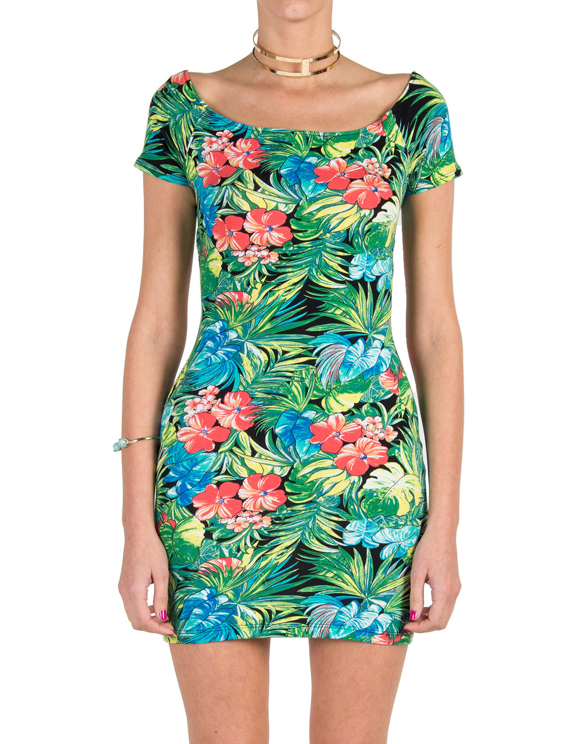 Lush Clothing - Tropical Cross Back Mini Dress