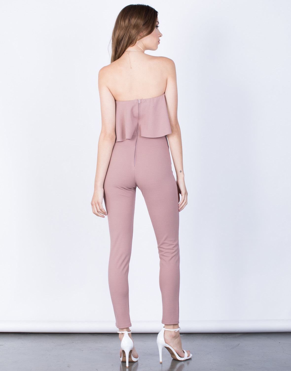 Back View of Lyndsey Ruffled Jumpsuit