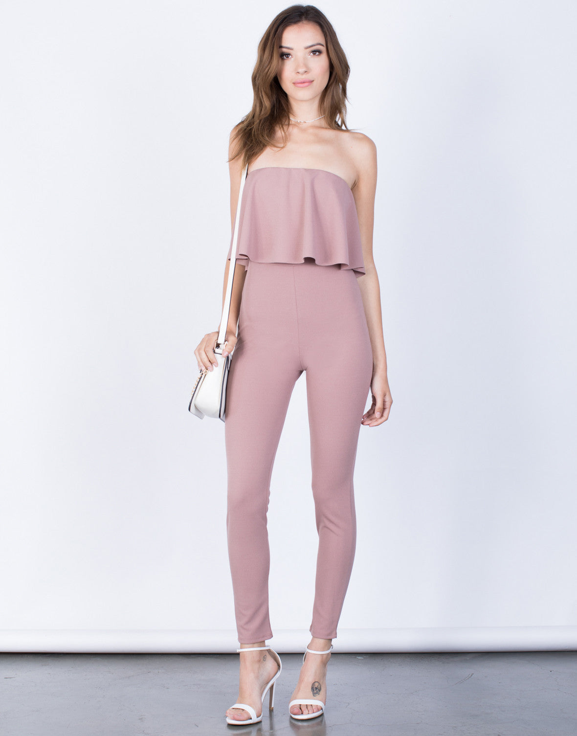 Front View of Lyndsey Ruffled Jumpsuit