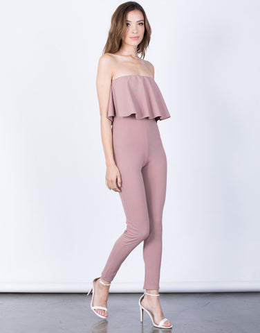 Side View of Lyndsey Ruffled Jumpsuit