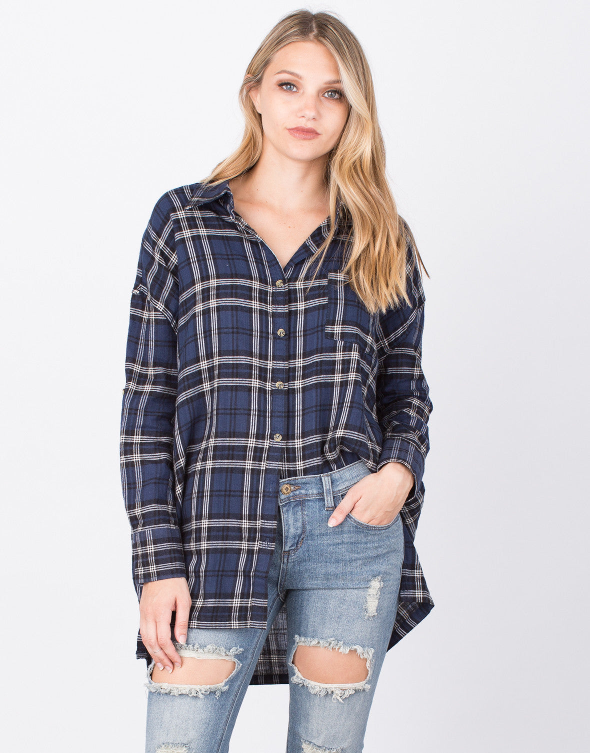 Front View of Mad for Plaid Tunic Top