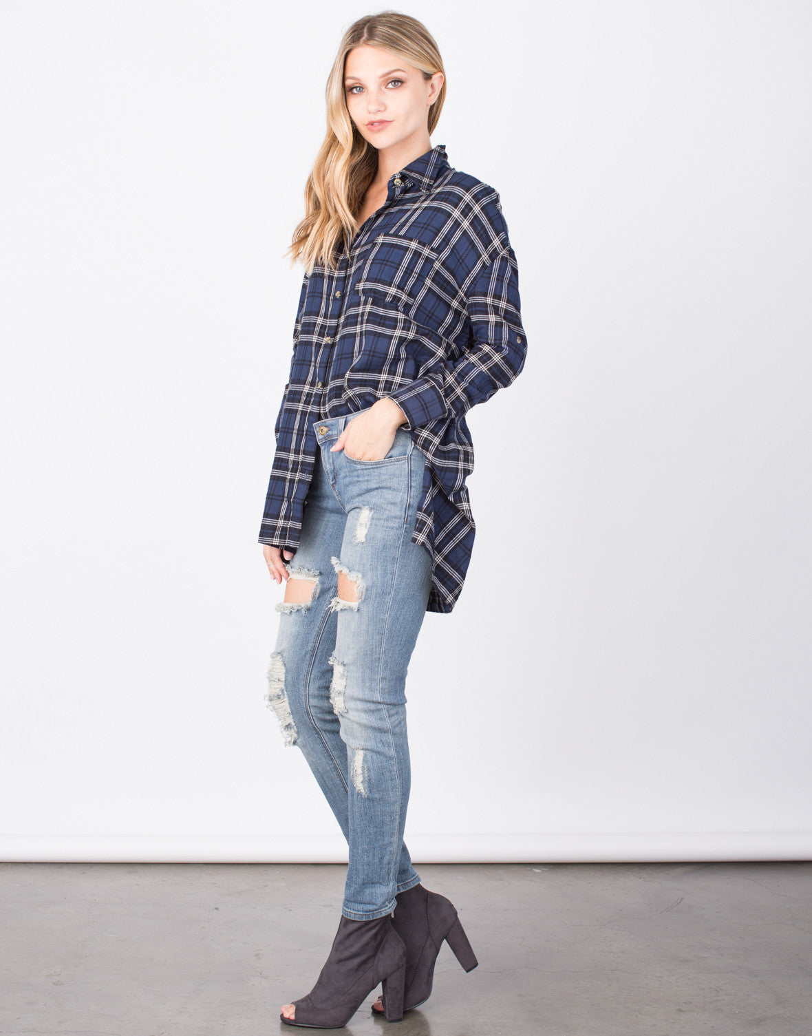 Side View of Mad for Plaid Tunic Top