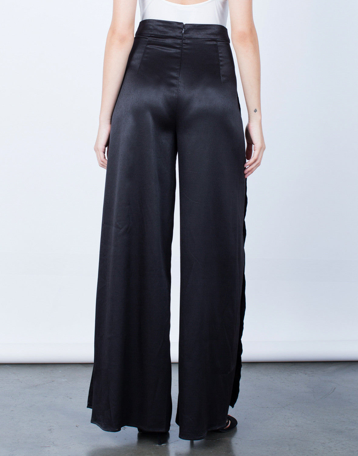 Back View of Make a Statement Satin Pants
