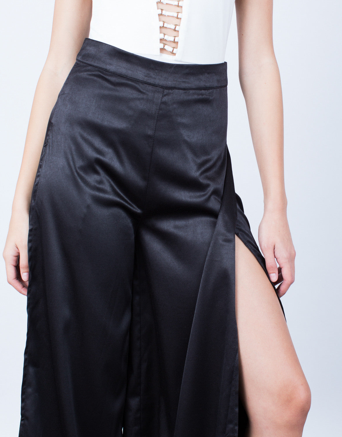 Detail of Make a Statement Satin Pants