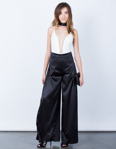 Front View of Make a Statement Satin Pants