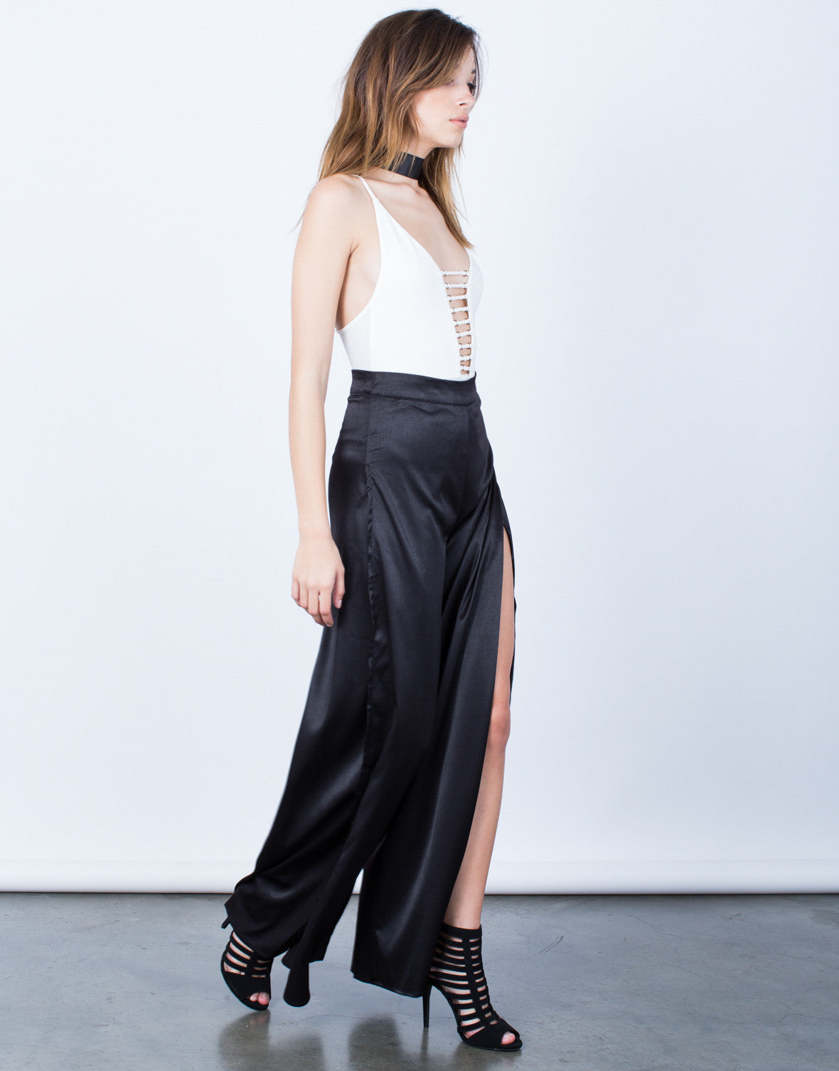 Side View of Make a Statement Satin Pants