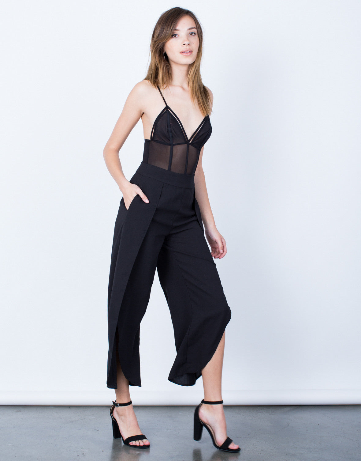 Side View of Make Your Move Wide Leg Pants