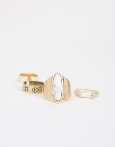 Marbled Stone Ring Set
