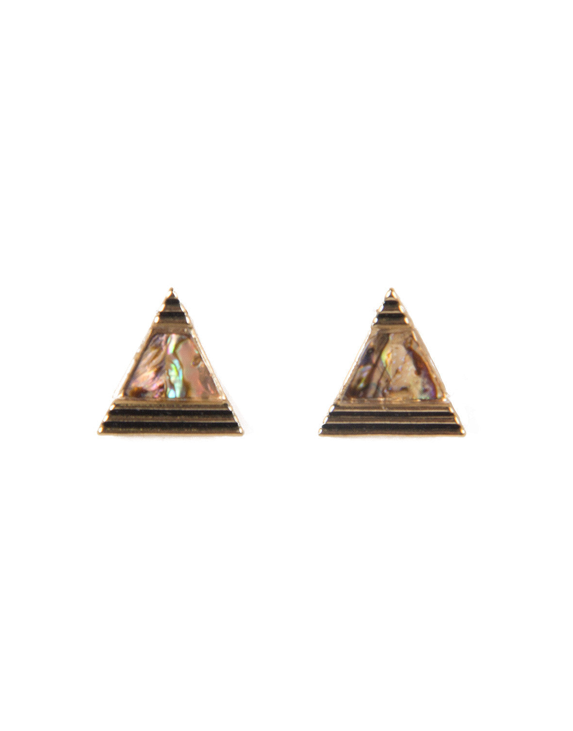 Marble Triangle Stud Earrings - Gold
