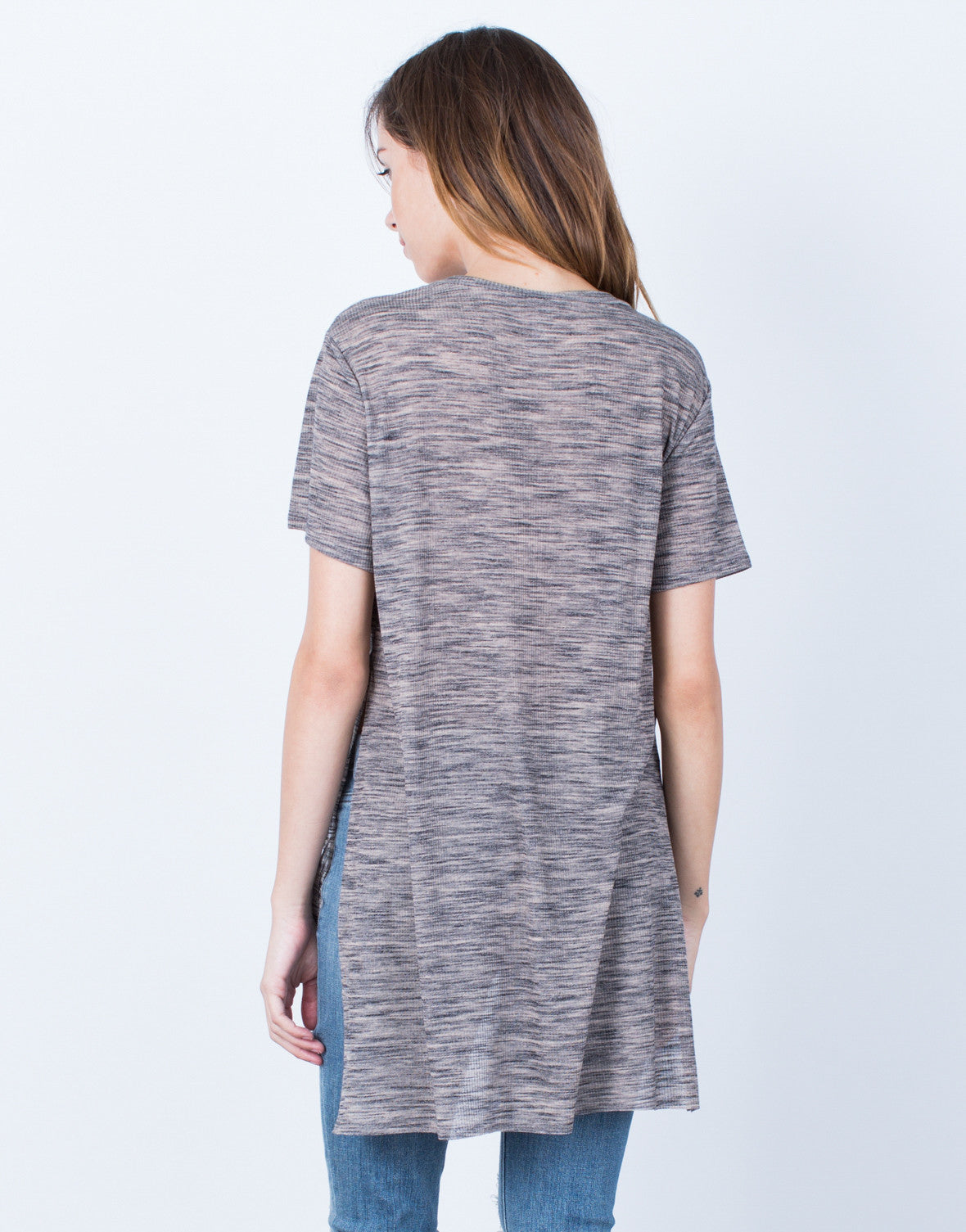 Back View of Marled Hi-Low Tee