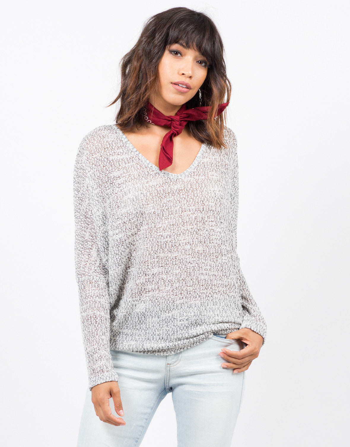 Marled Dolman Sweater Top