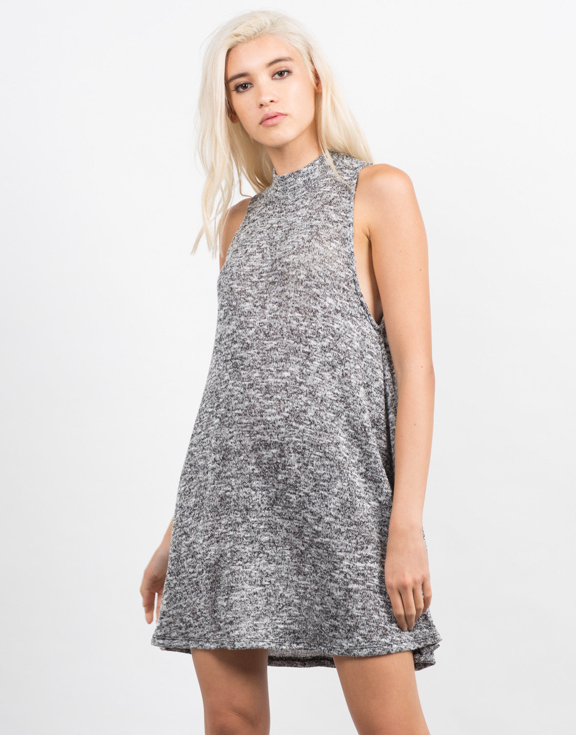 Front View of Marled Flare Dress