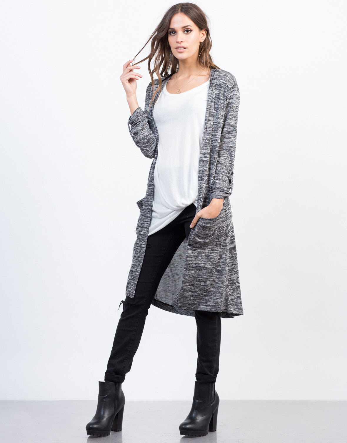Front View of Marled Hooded Cardigan