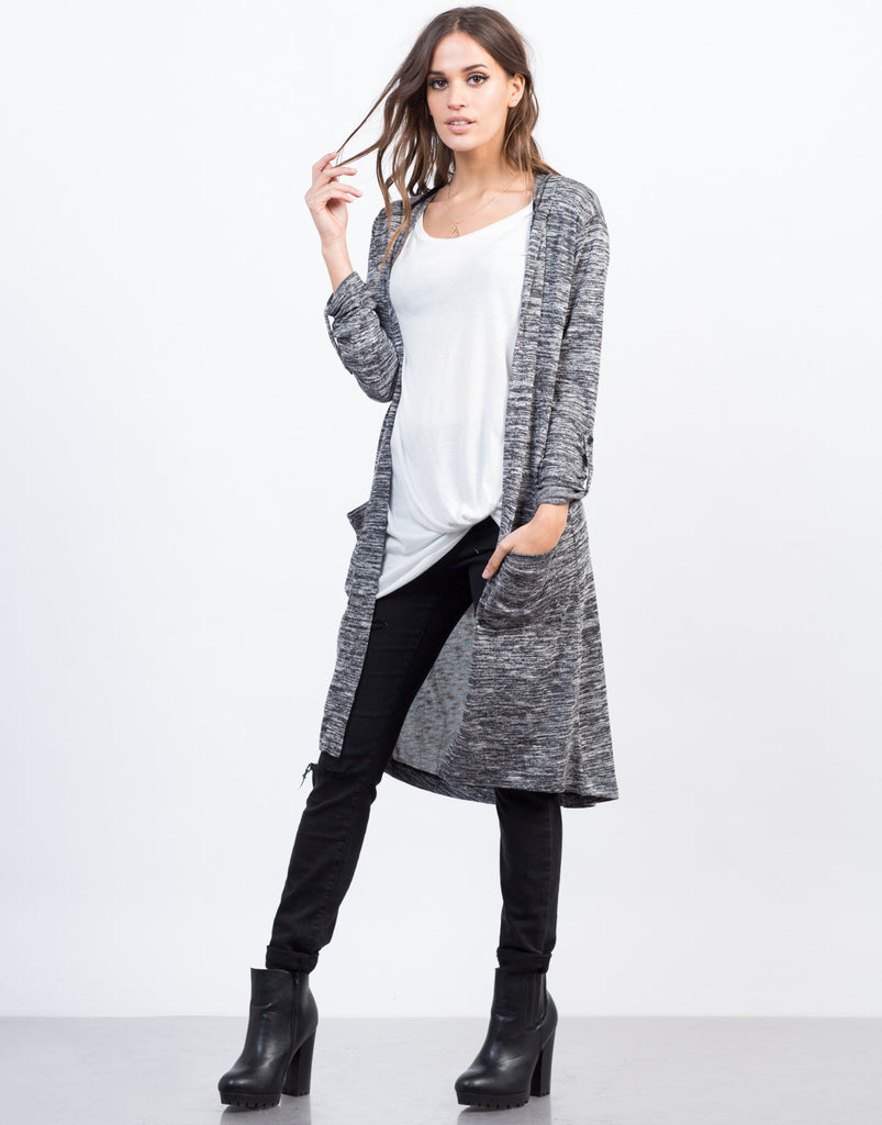Marled Hooded Cardigan - 2020AVE
