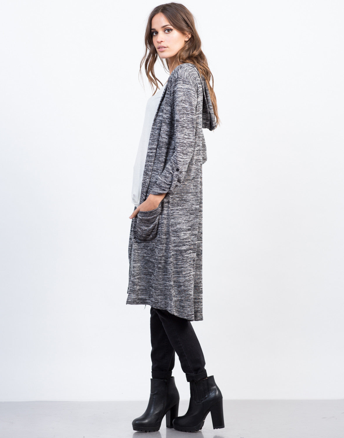 Side View of Marled Hooded Cardigan