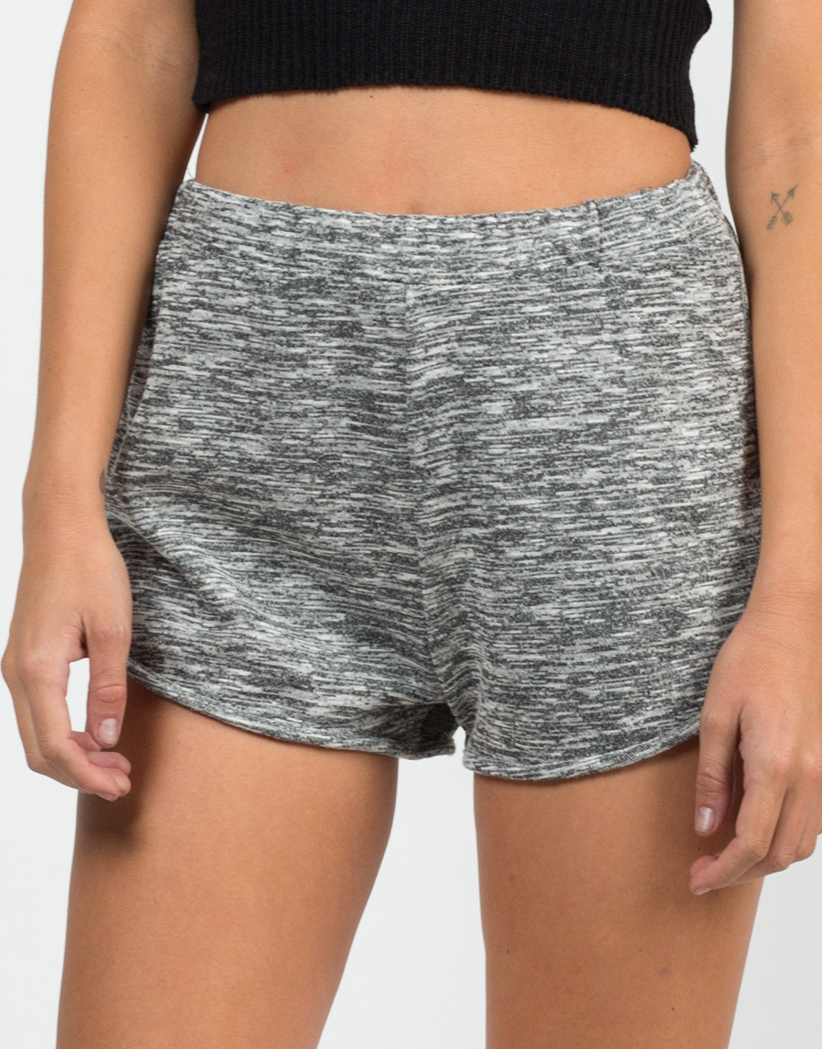 Front View of Marled Jogger Shorts