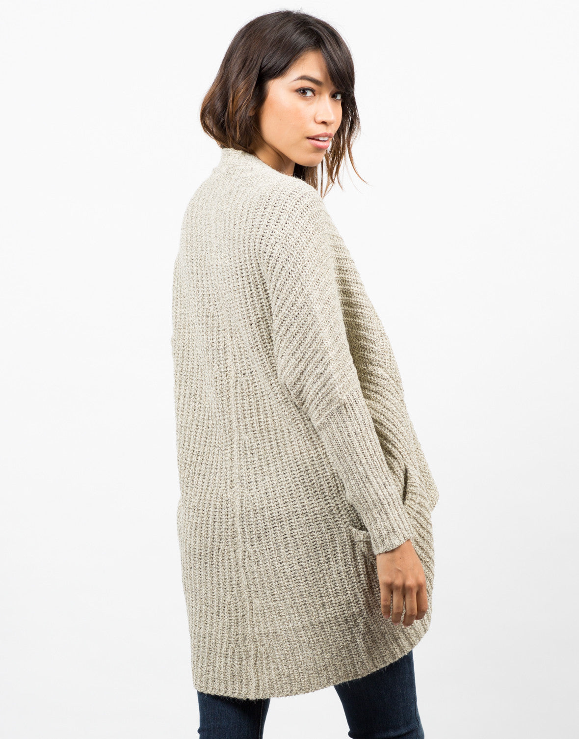 Back View of Marled Knit Cardigan