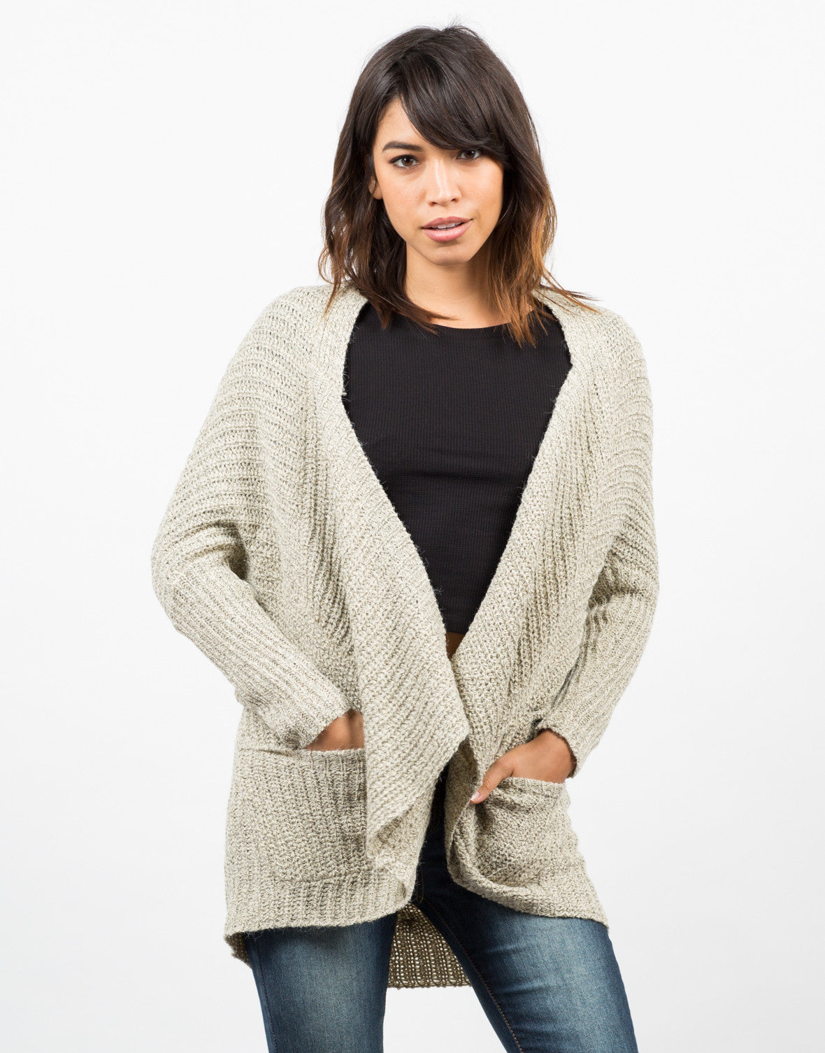 Front View of Marled Knit Cardigan
