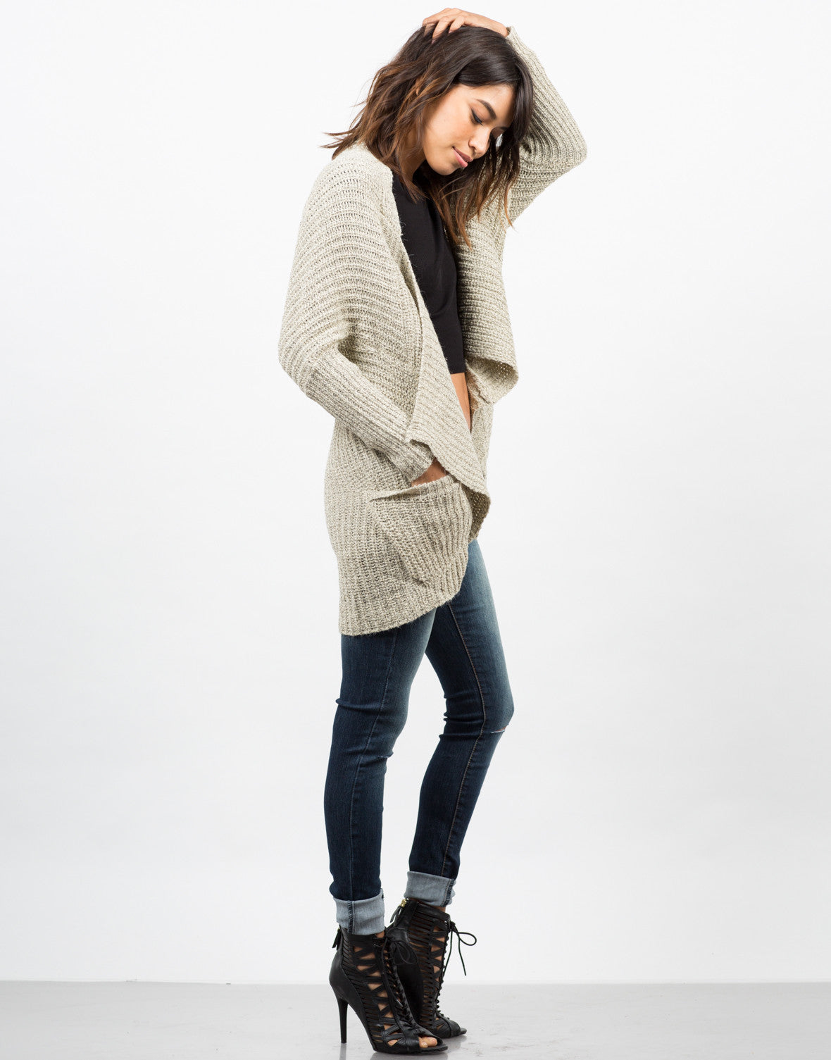 Side View of Marled Knit Cardigan