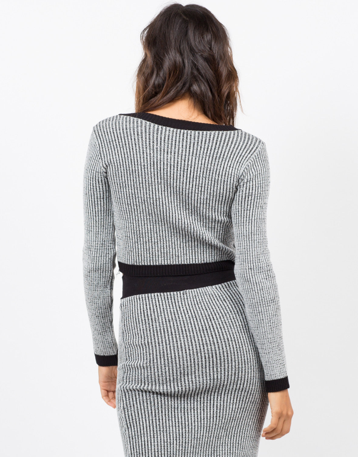 Back View of Marled Knit Crop Top