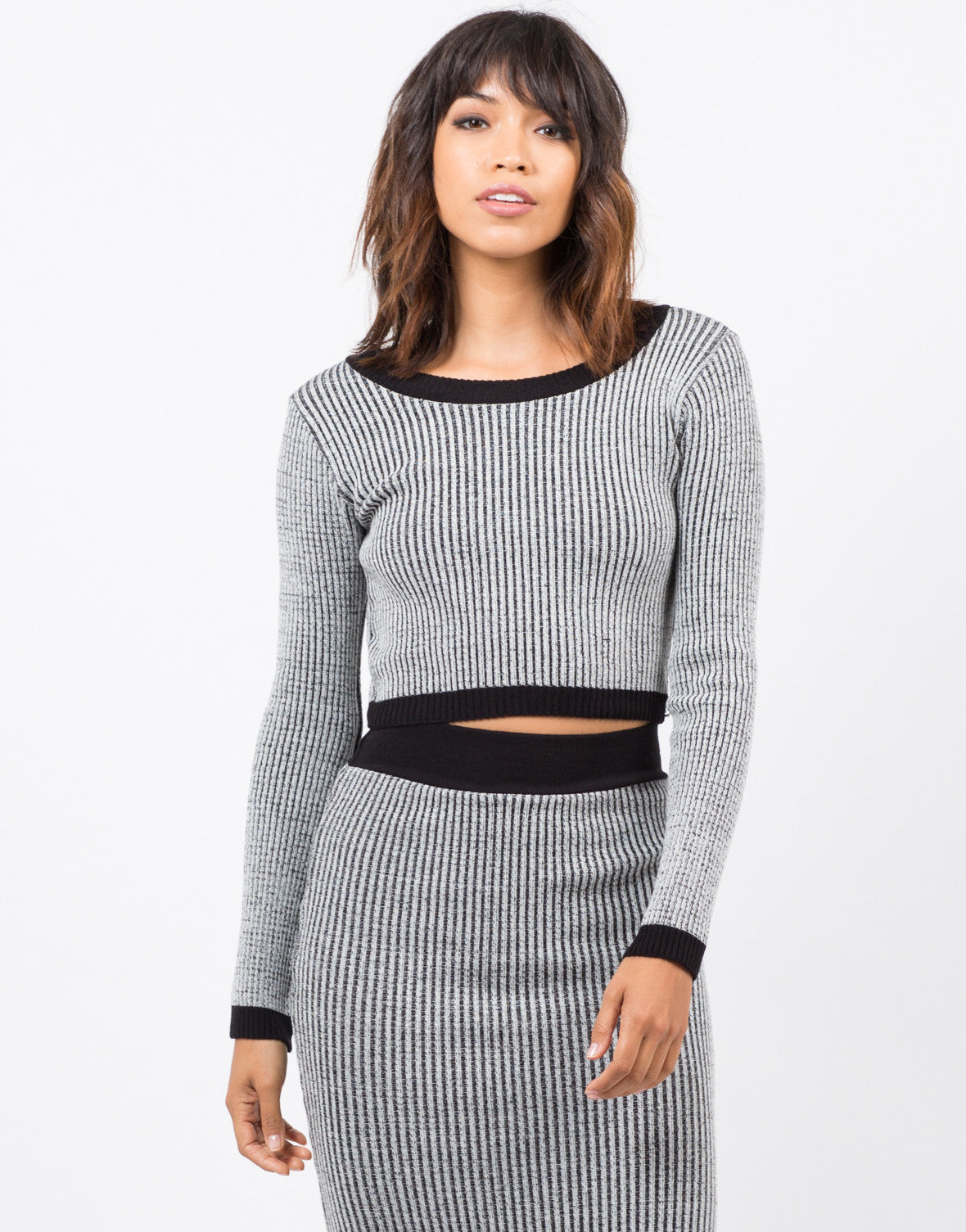 Front View of Marled Knit Crop Top