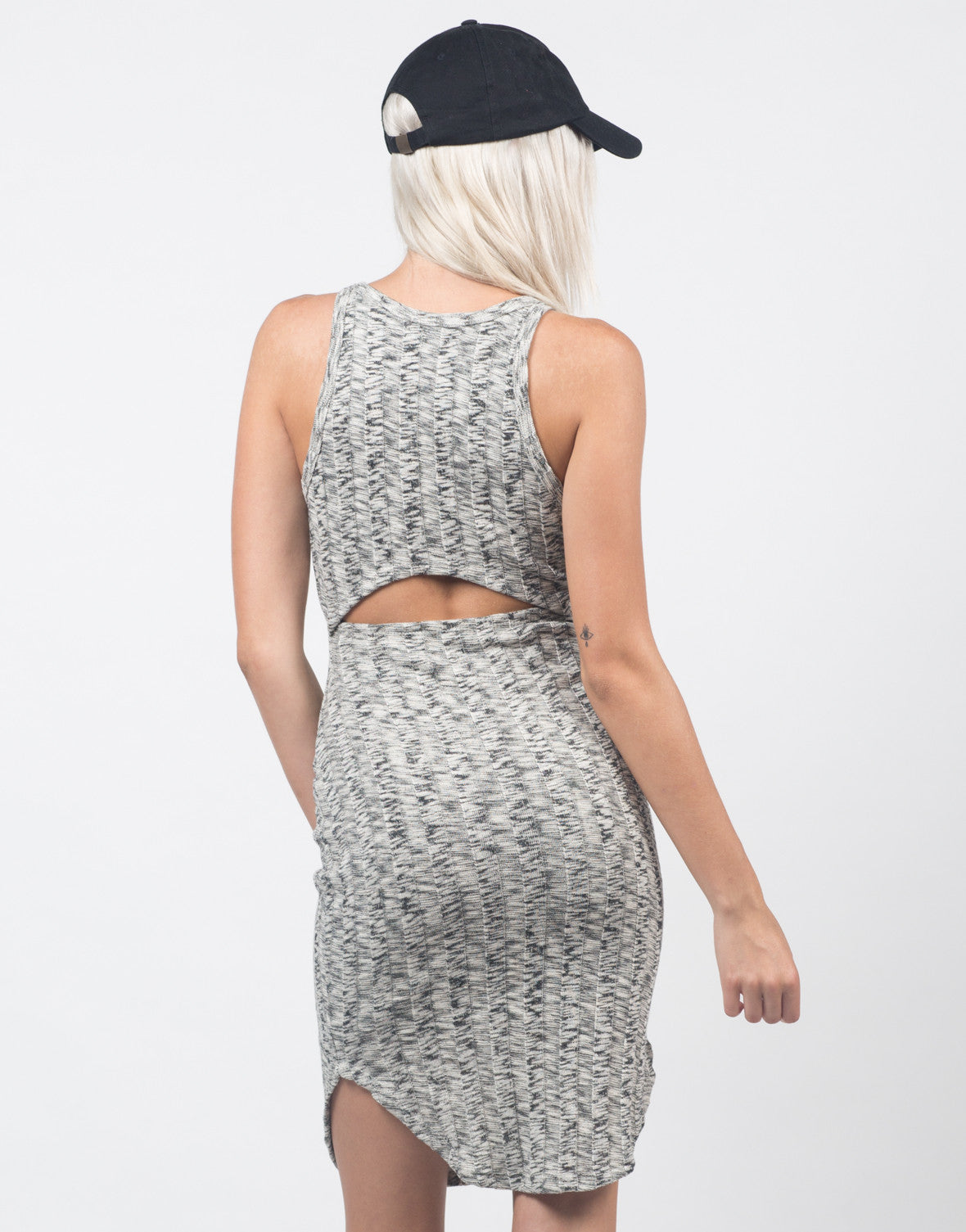 Back View of Marled Knit Dress