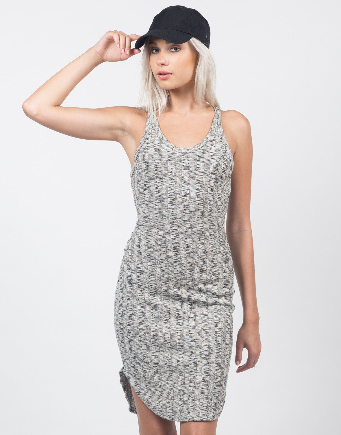 Front View of Marled Knit Dress