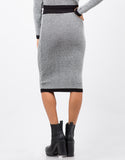 Back View of Marled Knit Midi Skirt