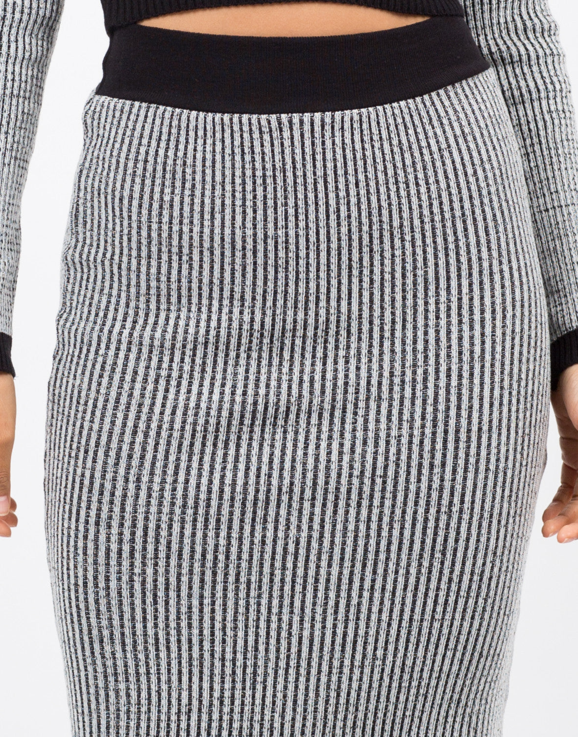 Detail of Marled Knit Midi Skirt