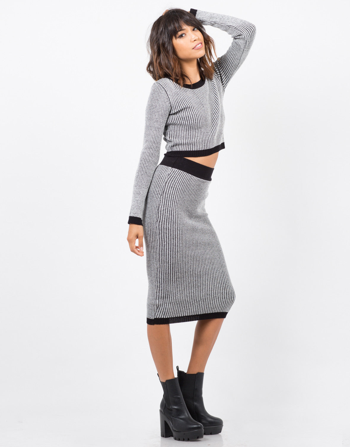 Side View of Marled Knit Midi Skirt