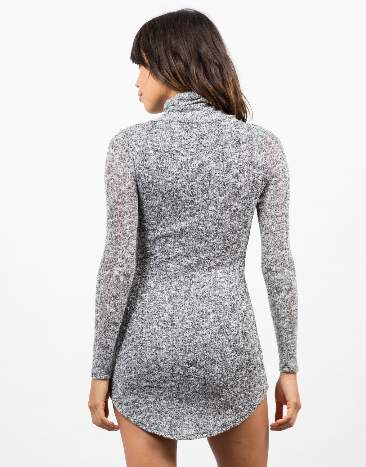 Back View of Marled Knit Sweater Dress
