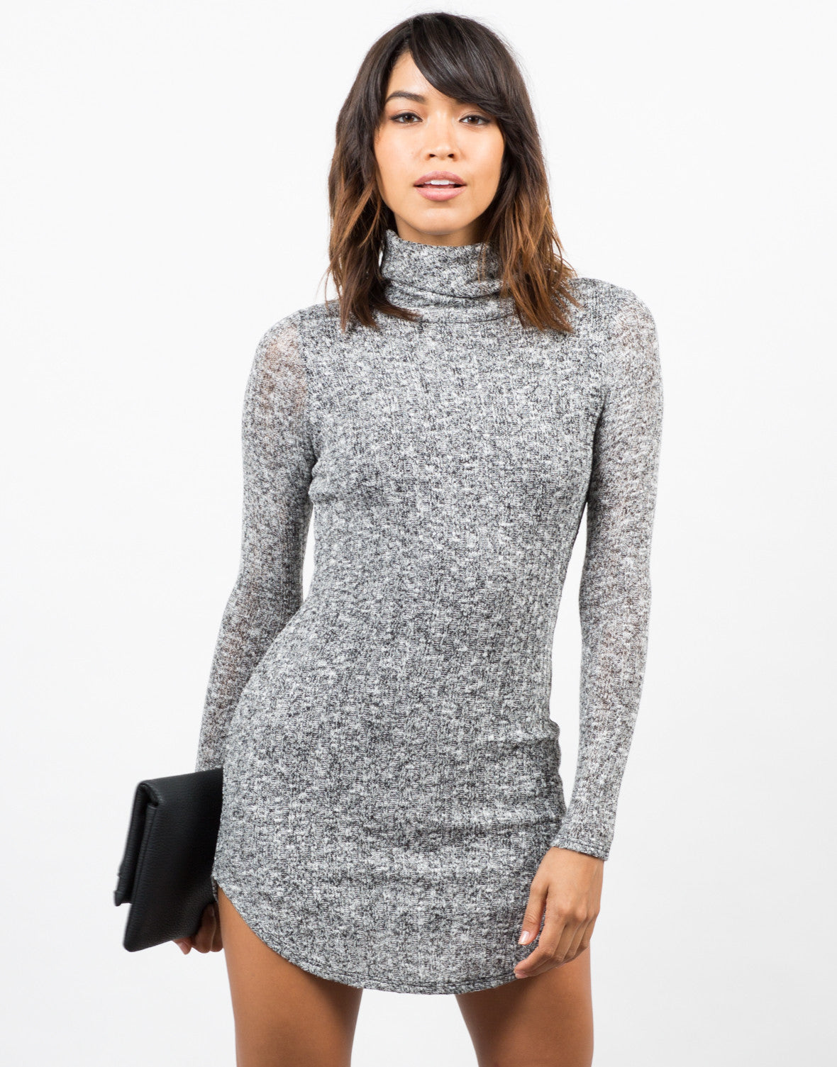 Front View of Marled Knit Sweater Dress