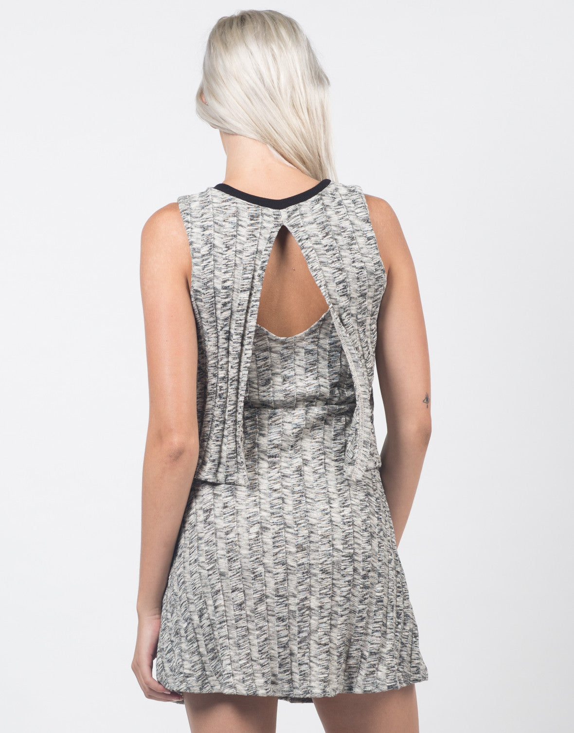 Back View of Marled Knit Swing Dress