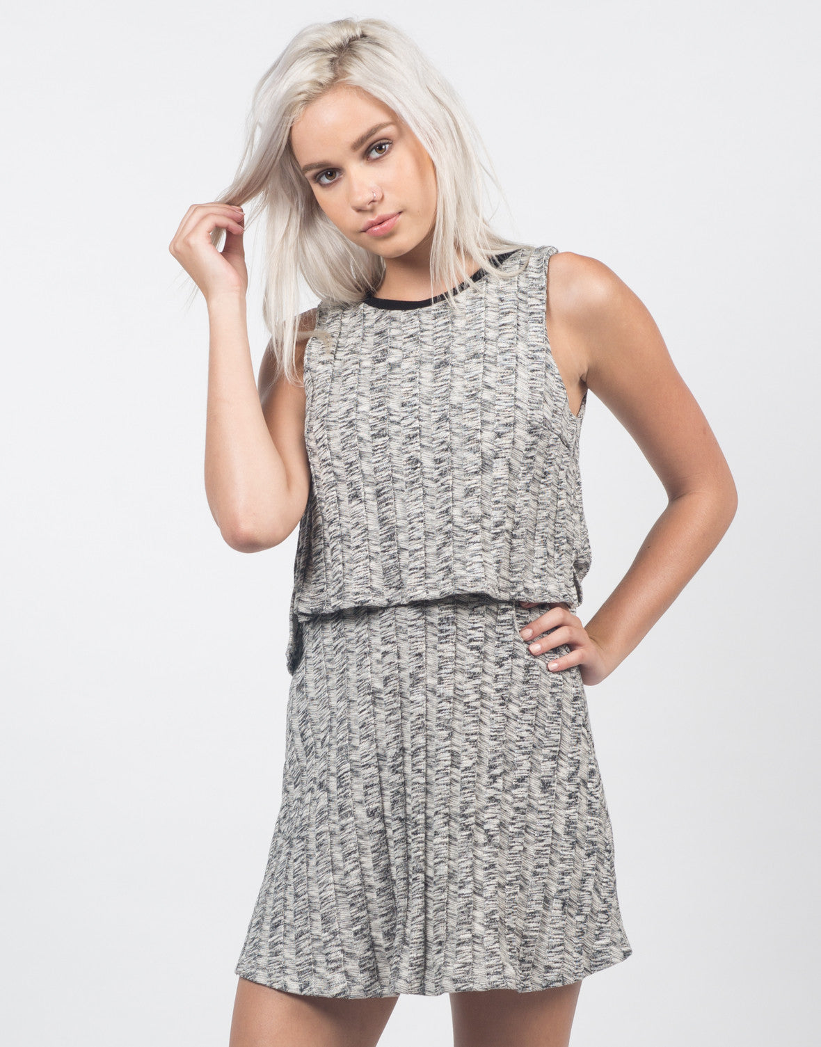 Front View of Marled Knit Swing Dress