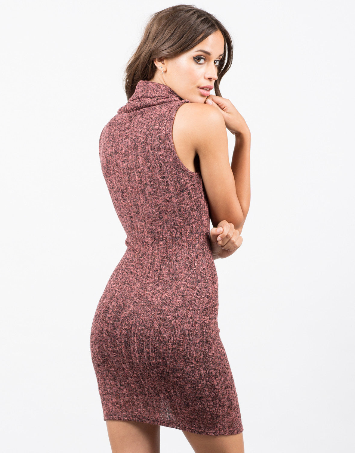 Back View of Marled Knit Tank Dress