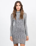 Front View of Marled Knit Turtleneck Dress