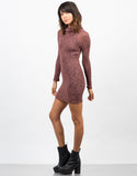 Side View of Marled Knit Turtleneck Dress