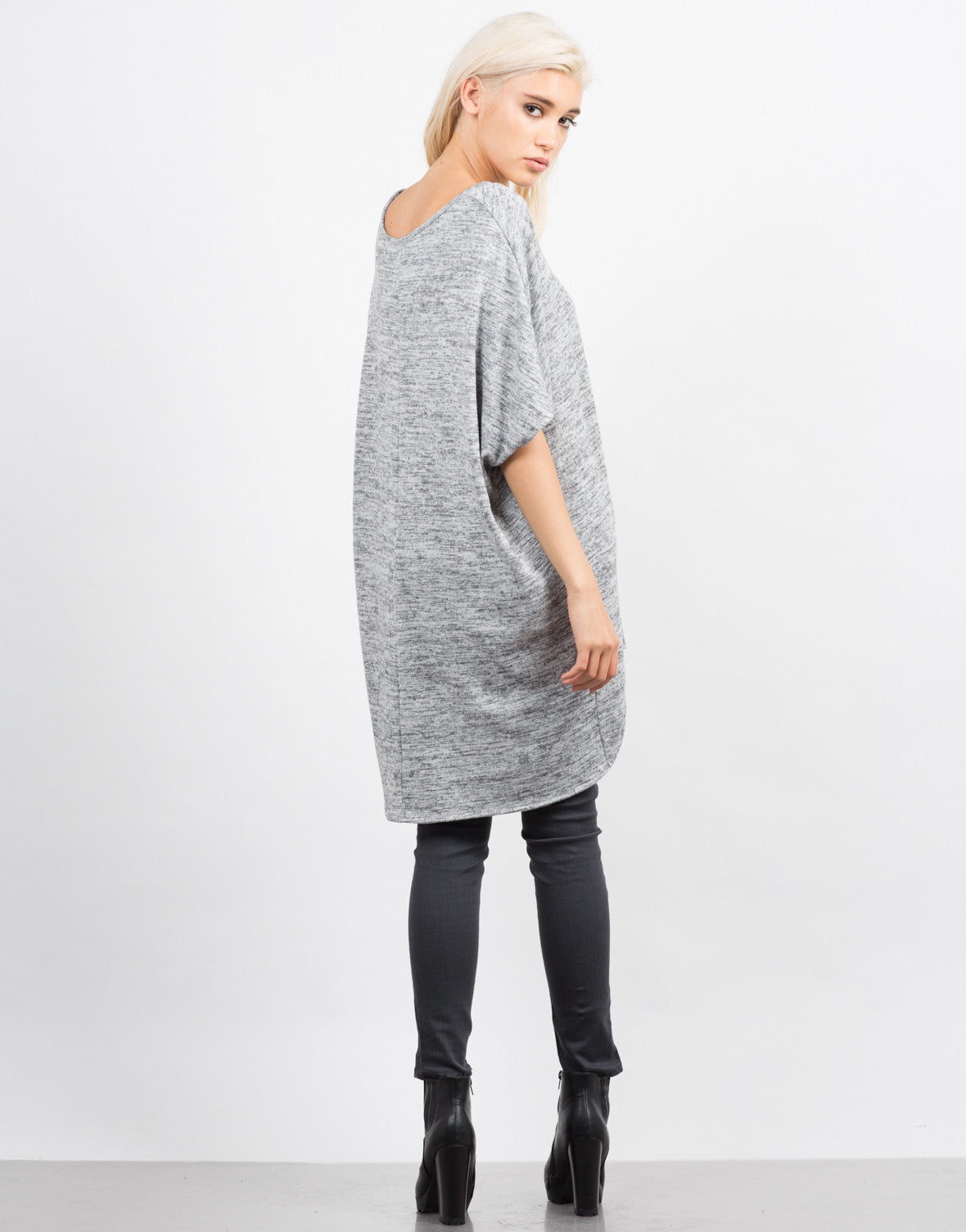 Back View of Marled Oversize Boxy Top