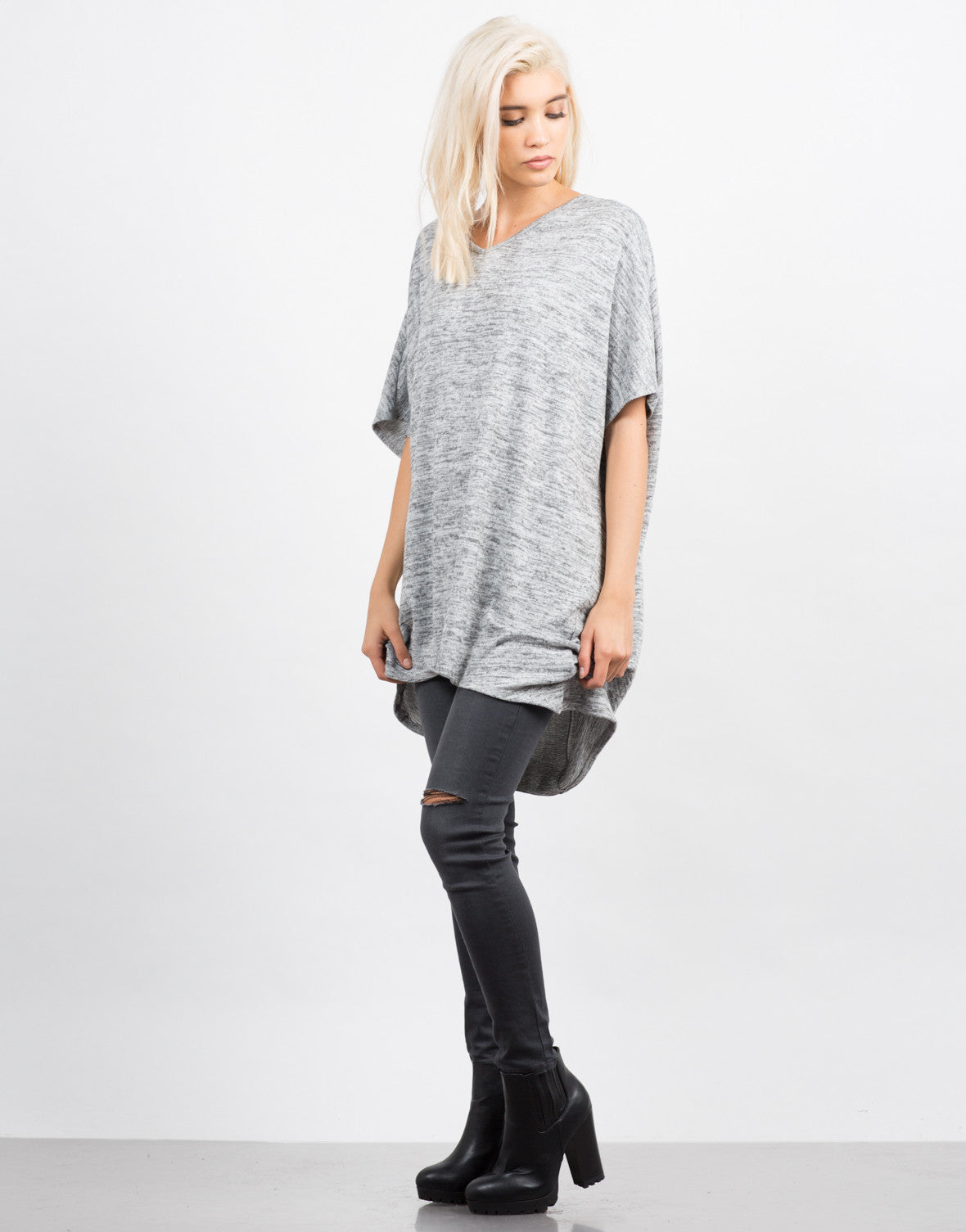 Side View of Marled Oversize Boxy Top