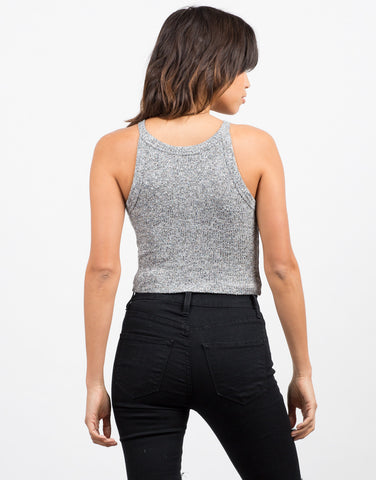 Back View of Marled Rib Crop Top