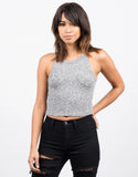 Front View of Marled Rib Crop Top