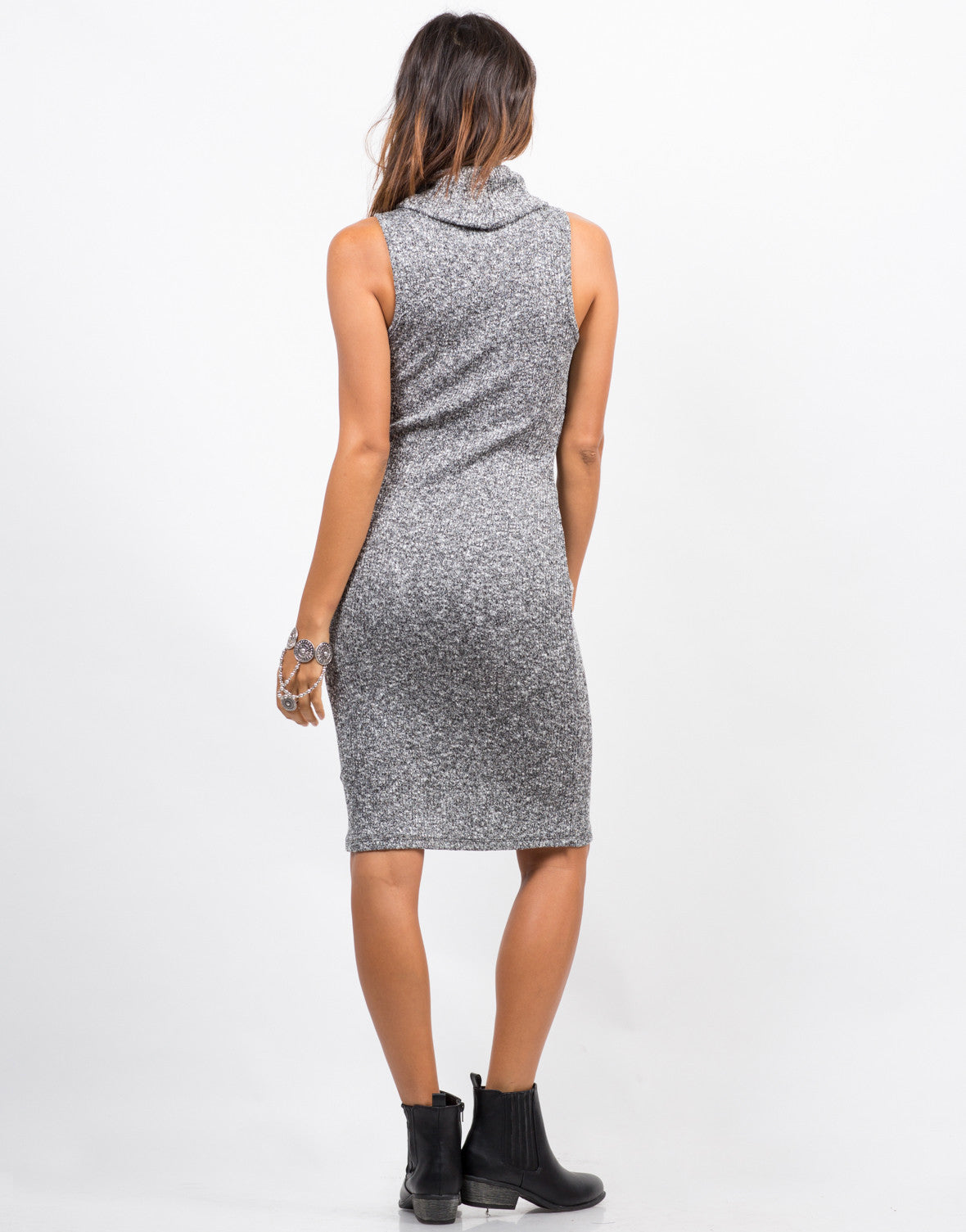Back View of Marled Sweater Dress