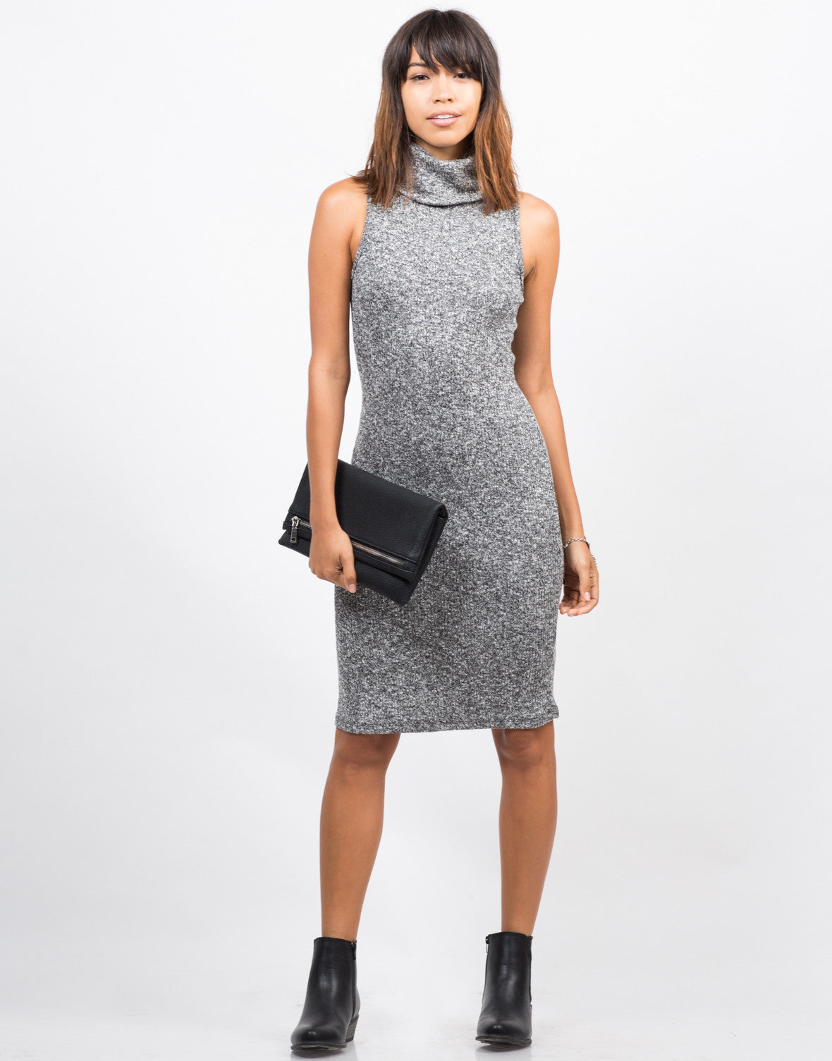 Front View of Marled Sweater Dress