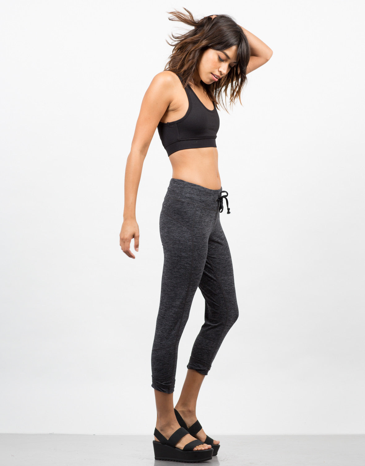 Side View of Marled Workout Leggings