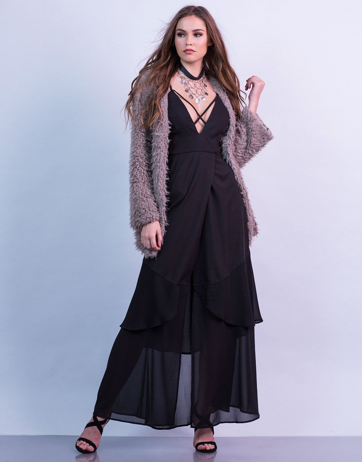 Plunging Contrast Maxi Dress
